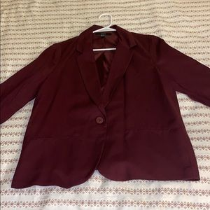 Burgundy One Button Blazer